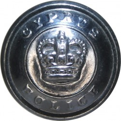 Cyprus Police 17mm -1952-1960 with Queen Elizabeth's Crown. Chrome-plated Police or Prisons uniform button