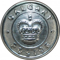 Canada: Calgary Police (Alberta) 16.5mm with Queen Elizabeth's Crown. Chrome-plated Police or Prisons uniform button