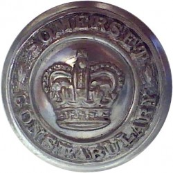Police General Pattern - Crown With No Rim 24mm with Queen Elizabeth's Crown. Chrome-plated Police or Prisons uniform button