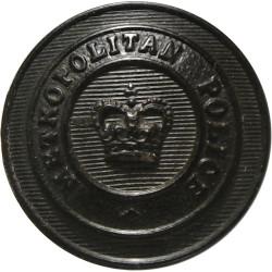 Metropolitan Police (London) - Name On Circlet 19mm - Black with Queen Elizabeth's Crown. Horn Police or Prisons uniform button