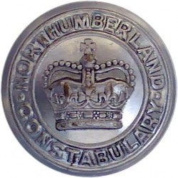 Northumberland Constabulary 17.5mm - 1952-1974 with Queen Elizabeth's Crown. Chrome-plated Police or Prisons uniform button