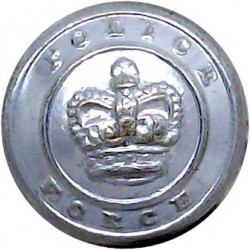 Durham Constabulary 17.5mm - Post-1952 with Queen Elizabeth's Crown. Chrome-plated Police or Prisons uniform button