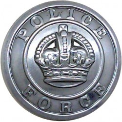 Barnsley County Borough Police 17.5mm - Pre-1952 King's Crown. Chrome-plated Police or Prisons uniform button