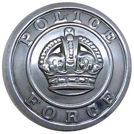 Barnsley County Borough Police 17.5mm - Pre-1952 with King's Crown. Chrome-plated Police or Prisons uniform button