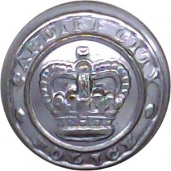 Cardiff City Police 17.5mm - 1952-1969 with Queen Elizabeth's Crown. Chrome-plated Police or Prisons uniform button