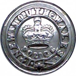 Australia: New South Wales Police 17mm with Queen Elizabeth's Crown. Chrome-plated Police or Prisons uniform button