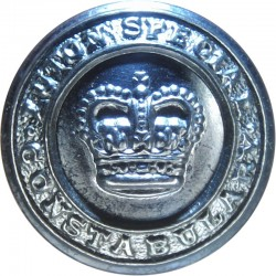 Metropolitan Police (London) - Name On Circlet 25.5mm - Black with Queen Elizabeth's Crown. Horn Police or Prisons uniform butto