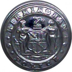 West Mercia Constabulary 24mm - Post-1967 with Queen Elizabeth's Crown. Chrome-plated Police or Prisons uniform button