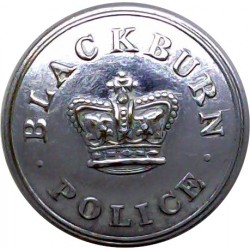 Blackburn County Borough Police 25.5mm - 1952-1969 with Queen Elizabeth's Crown. Chrome-plated Police or Prisons uniform button