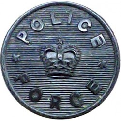 Police Force - General Pattern - Black 17mm with Queen Elizabeth's Crown. Horn Police or Prisons uniform button