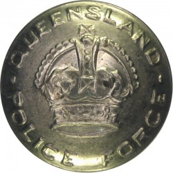 Australia: Queensland Police Force 21mm with King's Crown. White Metal Police or Prisons uniform button