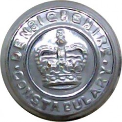 Hertfordshire Constabulary - Black 17.5mm - Post-1952 with Queen Elizabeth's Crown. Horn Police or Prisons uniform button