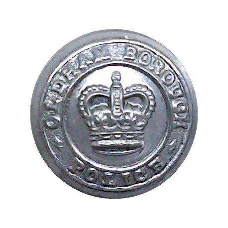 Oldham County Borough Police 17.5mm - 1952-1969 with Queen Elizabeth's Crown. Chrome-plated Police or Prisons uniform button