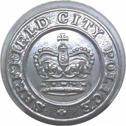 Sheffield City Police 24mm - 1952-1967 with Queen Elizabeth's Crown. Chrome-plated Police or Prisons uniform button