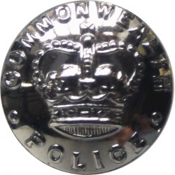 Australia: Commonwealth Police 16.5mm - 1960-1979 with Queen Elizabeth's Crown. Chrome-plated Police or Prisons uniform button