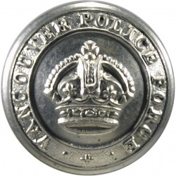 Canada: Vancouver Police Force 23mm with King's Crown. White Metal Police or Prisons uniform button