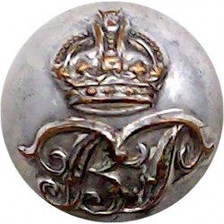 Bengal Police (India) - Without Wreath 16mm - Ball Button with King's Crown. Silver-plated Police or Prisons uniform button