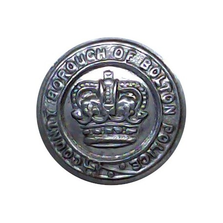 Bolton County Borough Police 17.5mm - 1952-1969 with Queen Elizabeth's Crown. Chrome-plated Police or Prisons uniform button