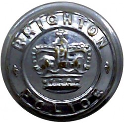 Brighton Police 16.5mm - 1952-1968 with Queen Elizabeth's Crown. Chrome-plated Police or Prisons uniform button