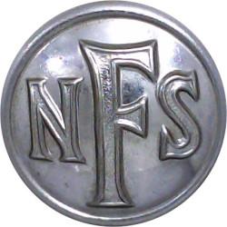 National Fire Service (NFS) Button 24.5mm - 1941-1948  Chrome-plated Fire Service uniform button