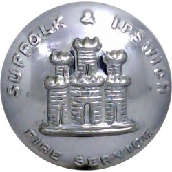 East Riding Of Yorkshire County Fire Brigade 24mm - 1948-1974 Chrome-plated Fire Service uniform button