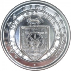 Fire Brigade - Helmet On Crossed Axes 17mm - Rimmed  Chrome-plated Fire Service uniform button