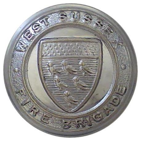West Sussex Fire Brigade (no Coronet) 24mm  Chrome-plated Fire Service uniform button