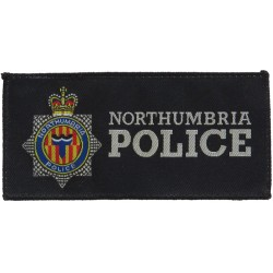 Northumbria Police Pullover Badge - 130mm X 62mm Rectangle (Dark Ring with Queen Elizabeth's Crown. Woven UK Police or Prison in