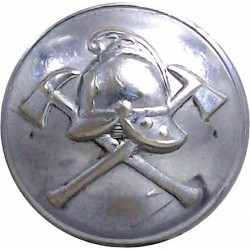Fire Brigade - Helmet On Crossed Axes 24mm - Rimmed  Chrome-plated Fire Service uniform button
