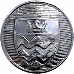 London Fire Brigade (1 Crown & Waves On Shield) 24mm - 1976-1985  Chrome-plated Fire Service uniform button