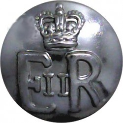 Ministry Of Defence Fire Service - EiiR 19mm with Queen Elizabeth's Crown. Chrome-plated Fire Service uniform button
