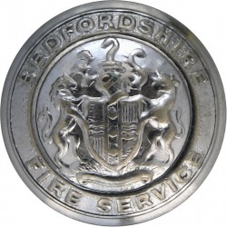 Bedfordshire Fire Service - Coat Of Arms Centre 24mm - 1974-1997  Chrome-plated Fire Service uniform button
