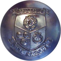 Hampshire Fire Brigade (Shield Centre) - Unlined 24mm - Post-1974  Chrome-plated Fire Service uniform button
