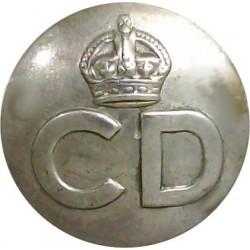 Civil Defence Corps Button  (Crown Over CD) 24mm with King's Crown. White Metal Civilian uniform button
