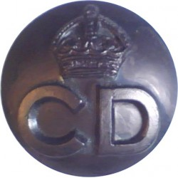 Civil Defence Corps Button  (Crown Over CD) 17.5mm - Black with King's Crown. Plastic Civilian uniform button