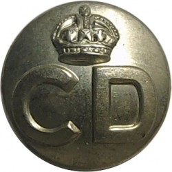 Civil Defence Corps Button  (Crown Over CD) 17mm with King's Crown. White Metal Civilian uniform button