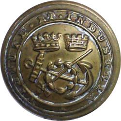 Corps Of Commissionaires - Virtute Et Industria 25mm  Brass Civilian uniform button