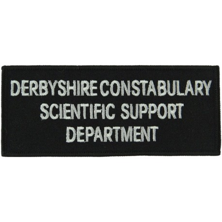 Derbyshire Constabulary Scientific Support Departmen Words On Rectangle  Embroidered UK Police or Prison insignia