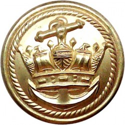 Cunard Line - Shipping Button - Roped Rim 20mm Queen Victoria's Crown. Gilt Merchant Navy or Shipping uniform button
