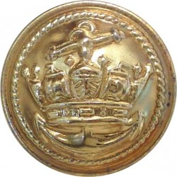 Cunard Line - Shipping Button 20mm Flat Indented with Queen Elizabeth's Crown. Gilt Merchant Navy or Shipping uniform button