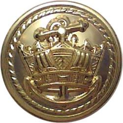 Merchant Navy (Roped Inner, Plain Outer Rim) 17mm  Gilt Merchant Navy or Shipping uniform button