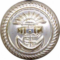 P&O (Peninsular & Oriental) Shipping Button - Roped 20mm - Unlined  Silver-plated Merchant Navy or Shipping uniform button