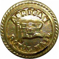 African Royal Mail - Shipping Button - Roped Rim 16.5mm with Queen Victoria's Crown. Gilt Merchant Navy or Shipping uniform butt