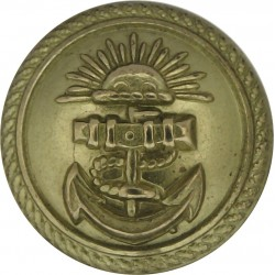 P&O (Peninsular & Oriental) Shipping Button - Roped 22mm - Unlined  Gilt Merchant Navy or Shipping uniform button