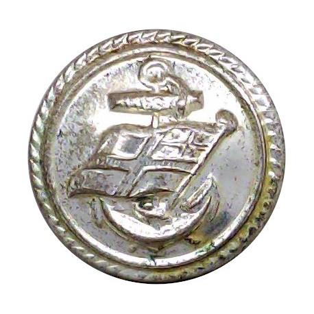 P&O (Peninsular & Oriental) Shipping Button - Roped 17mm  Silver-plated Merchant Navy or Shipping uniform button