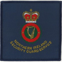 Northern Ireland Security Guard Service Square Armbadge with Queen Elizabeth's Crown. Embroidered UK Police or Prison insignia