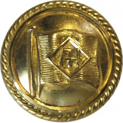 Alfred Holt Blue Funnel Line - Shipping Button 20mm - Roped Rim  Gilt Merchant Navy or Shipping uniform button