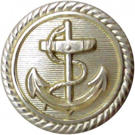 Anchor On Lined Background With Roped Rim 29mm - Silver Colour  Anodised Merchant Navy or Shipping uniform button