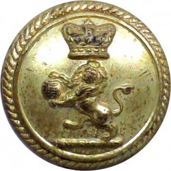 Orient Line - Shipping Button - Plain Rim 21.5mm - Unlined with King's Crown. Gilt Merchant Navy or Shipping uniform button