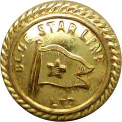 Blue Star Line Ltd - Shipping Button - Roped Rim 17mm  Gilt Merchant Navy or Shipping uniform button